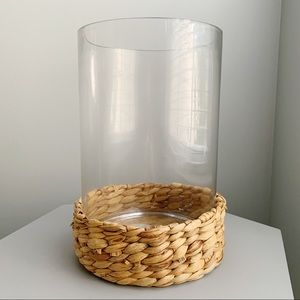 Large Glass Rattam Hurricane Vase